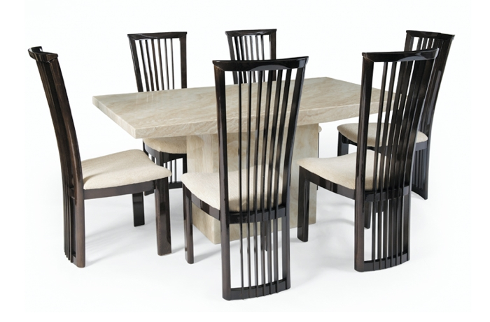 Large Crema Marble Dining Set With 6 Reni Chairs | Thomas Brown Regarding Marble Dining Chairs (Image 14 of 25)