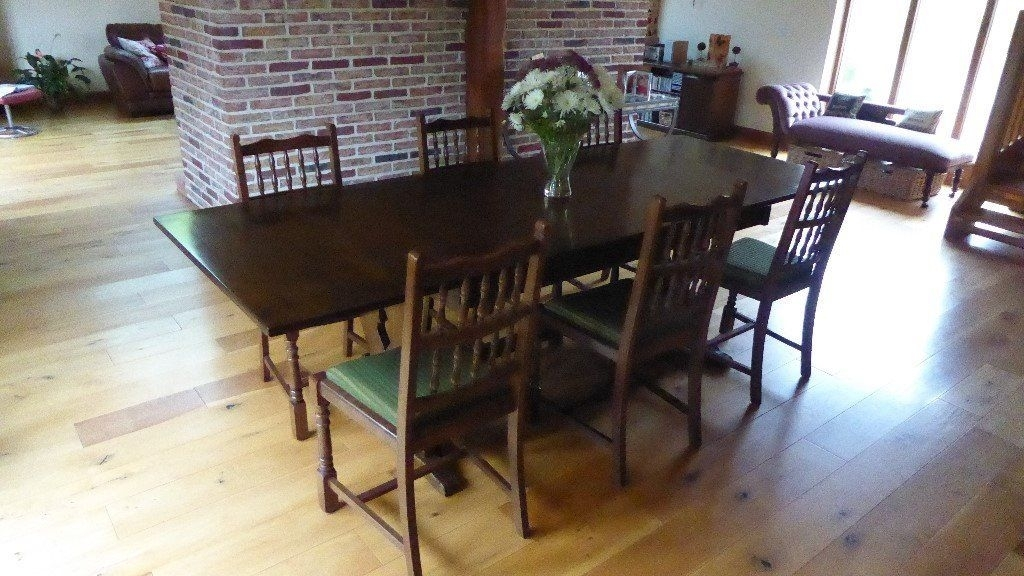 Large Dark Oak Dining Table And 6 Dining Chairs (Image 8 of 25)