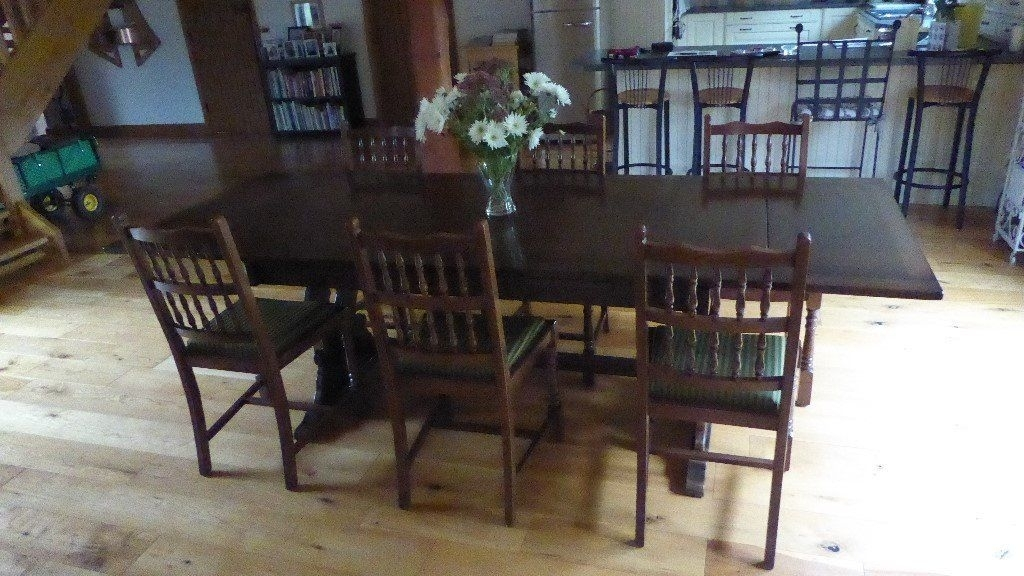 Large Dark Oak Dining Table And 6 Dining Chairs (Image 9 of 25)