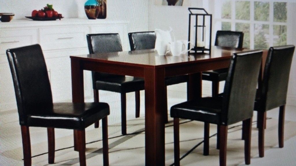 Large Dark Wood Dining Table With 6 Padded Seat Chairs | In Within Dark Wood Dining Tables 6 Chairs (Image 16 of 25)