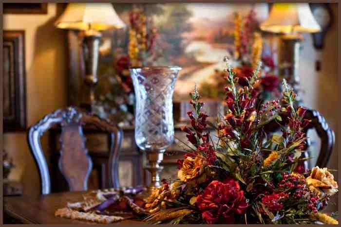 Large Dining Table Centerpiece Silk Flower Arrangement In Artificial Floral Arrangements For Dining Tables (Image 21 of 25)