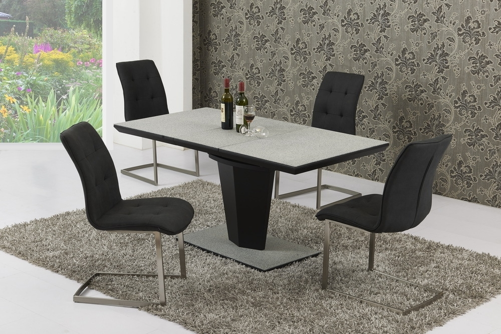 Large Extendable Grey Stone Effect Glass Dining Table & 8 Chairs Regarding Extending Glass Dining Tables And 8 Chairs (Image 13 of 25)