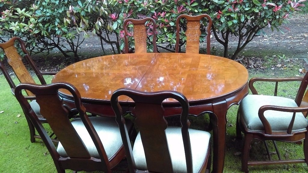 "Large Extending Dining Table And 6 Chairs ( Two Carvers) ""imperial Intended For Imperial Dining Tables (View 20 of 25)"
