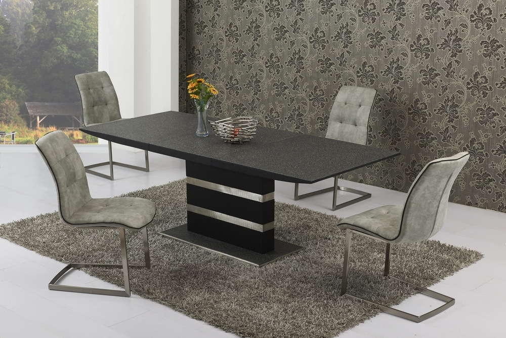 Large Extending Stone Set Glass Dining Table And 8 Grey Chairs Regarding Marble Effect Dining Tables And Chairs (View 25 of 25)