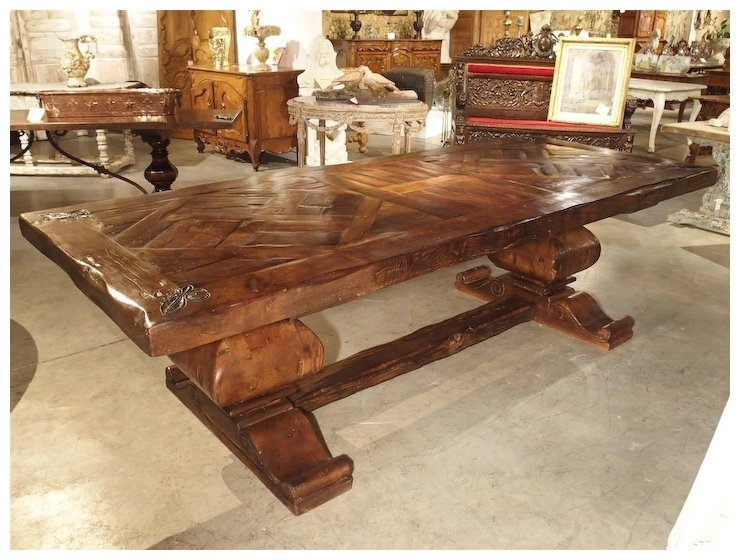 Large French Oak Dining Table With Parquet Top And Fleur De Lys : Le For Parquet 6 Piece Dining Sets (View 13 of 25)