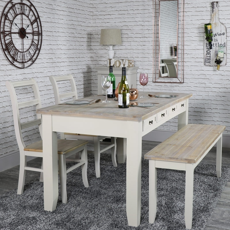 Large Grey 8 Drawer Dining Table With Bench And 2 Chairs – Cotswold Inside Cotswold Dining Tables (Image 22 of 25)