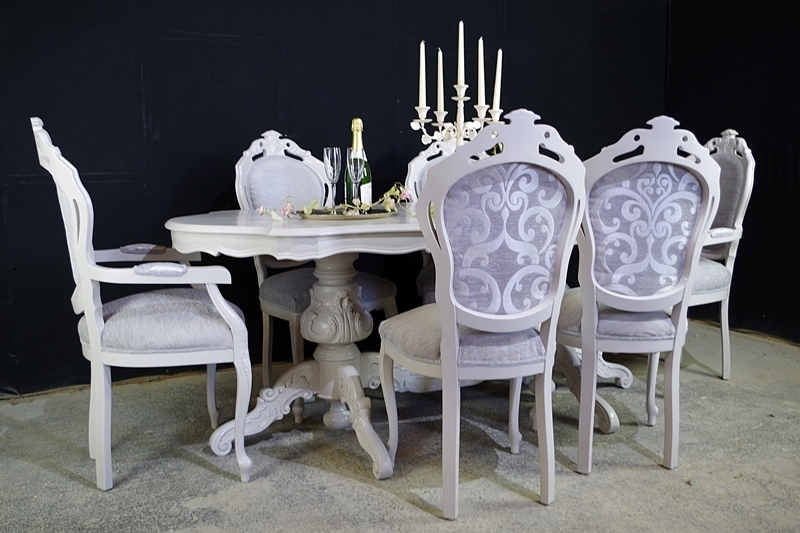 Large Italian Double Pedestal Dining Table + Louis Chairs + Bench In Pedestal Dining Tables And Chairs (Image 16 of 25)