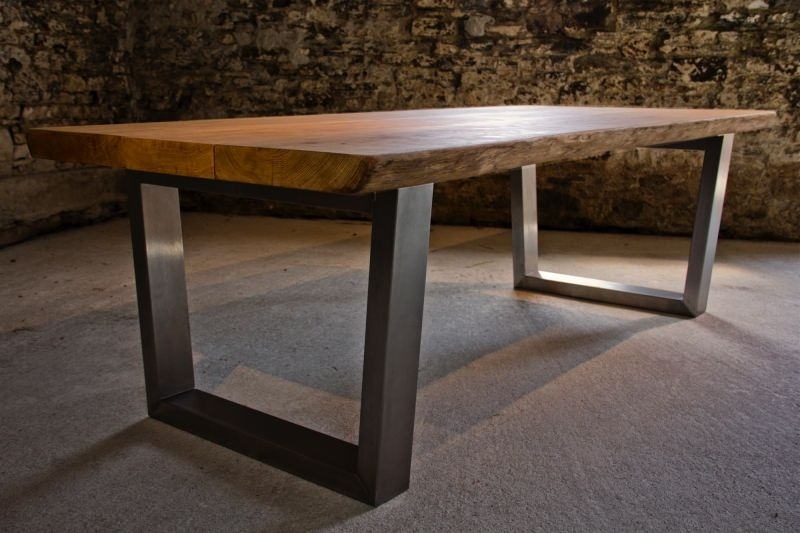 Large Oak Dining Table Selection Inside Brushed Steel Dining Tables (Image 13 of 25)