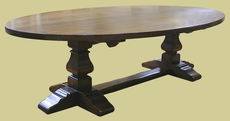 Large Oval Oak Pedestal Dining Table With Square Cut Legs In Dining Tables With Large Legs (Image 16 of 25)