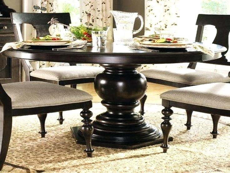 Large Round Dining Tables Table Seats Black Wooden With Glass Teapot Pertaining To Black Circular Dining Tables (Image 16 of 25)