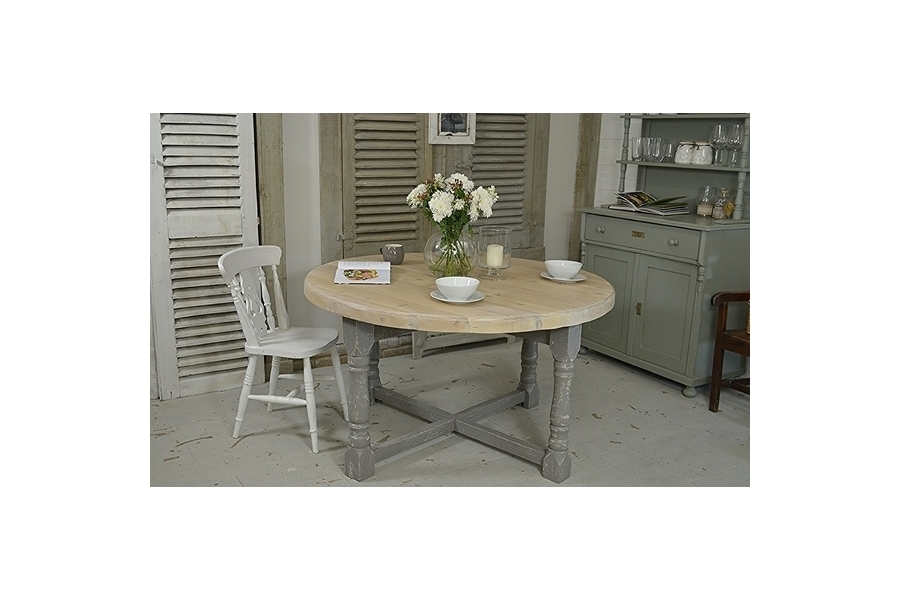 Large Round Shabby Chic Farmhouse Folding Dining Table (White, Grey Intended For Large Folding Dining Tables (Image 14 of 25)