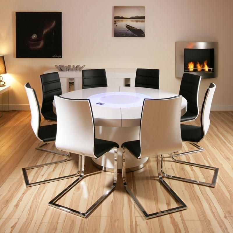 Large Round White Gloss Dining Table Glass Lazy Susan Led Lighting Inside Large White Round Dining Tables (View 21 of 25)
