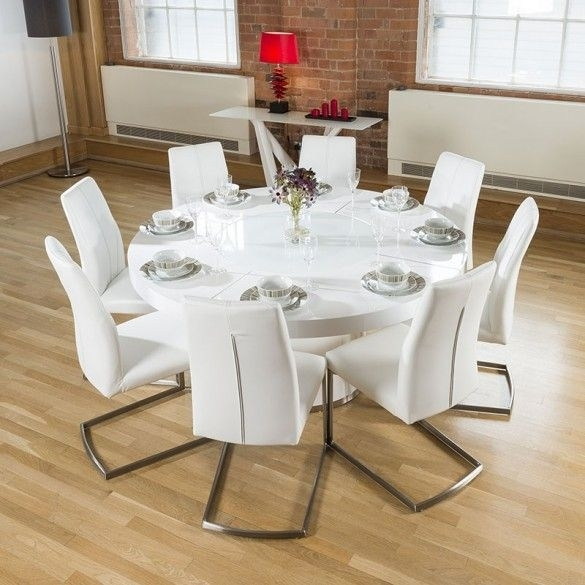 Large Round White Gloss Dining Table Glass Lazy Susan Led Lighting Intended For Dining Tables With Led Lights (Image 14 of 25)