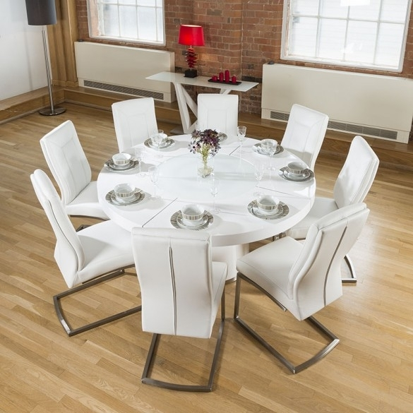 Large Round White Gloss Dining Table Lazy Susan, 8 White Chairs 4110 With Regard To Round High Gloss Dining Tables (Image 16 of 25)