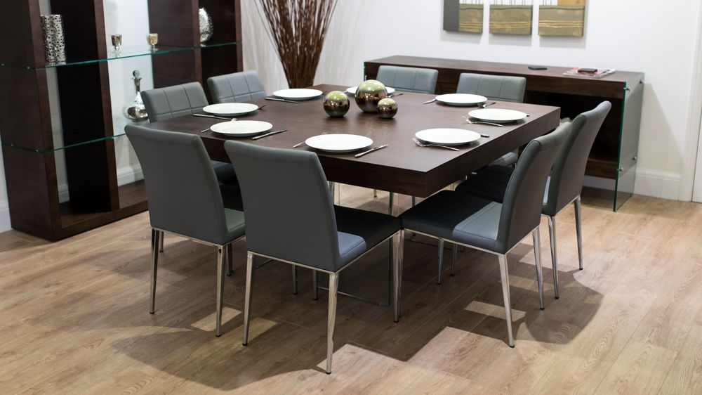 Large Square Dark Wood Dining Table | Glass Legs | 6 8 Quilted Chairs Inside Dark Wood Square Dining Tables (Image 16 of 25)