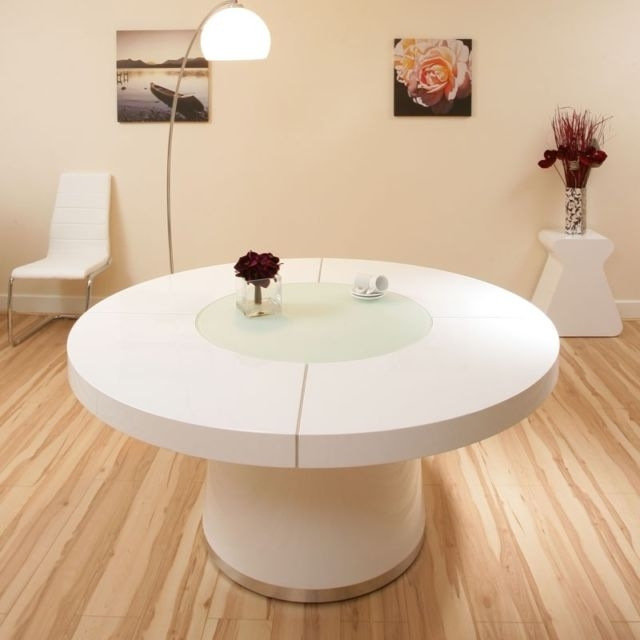 Large White Gloss Dining Table Glass Lazy Susan Led Lighting (View 17 of 25)