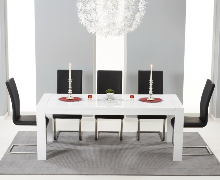 Large White Gloss Extending Table 3 M 12 Seater For White Gloss Dining Room Tables (Image 15 of 25)