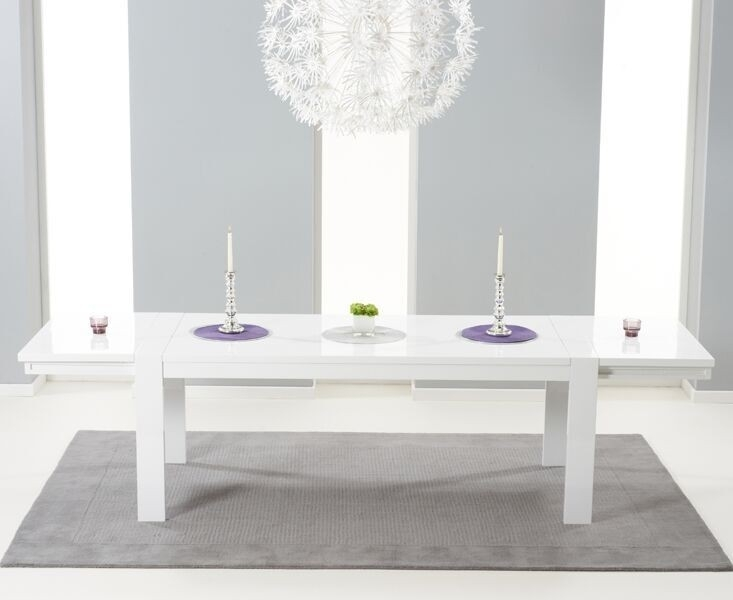 Large White Gloss Extending Table 3 M 12 Seater Pertaining To White Gloss Dining Furniture (Image 17 of 25)