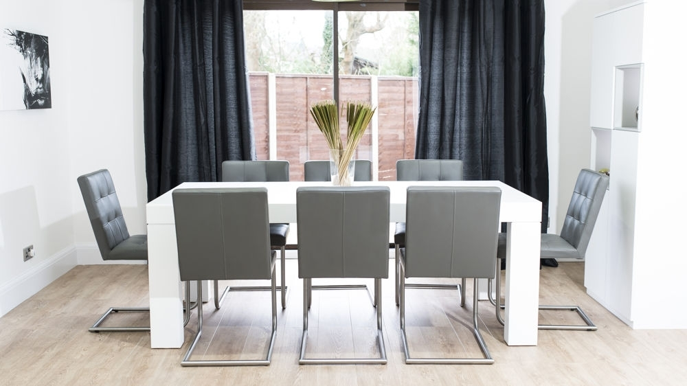Large White Oak Dining Set For 8 People | Real Leather Quilted Chairs With Dining Tables For Eight (Image 17 of 25)
