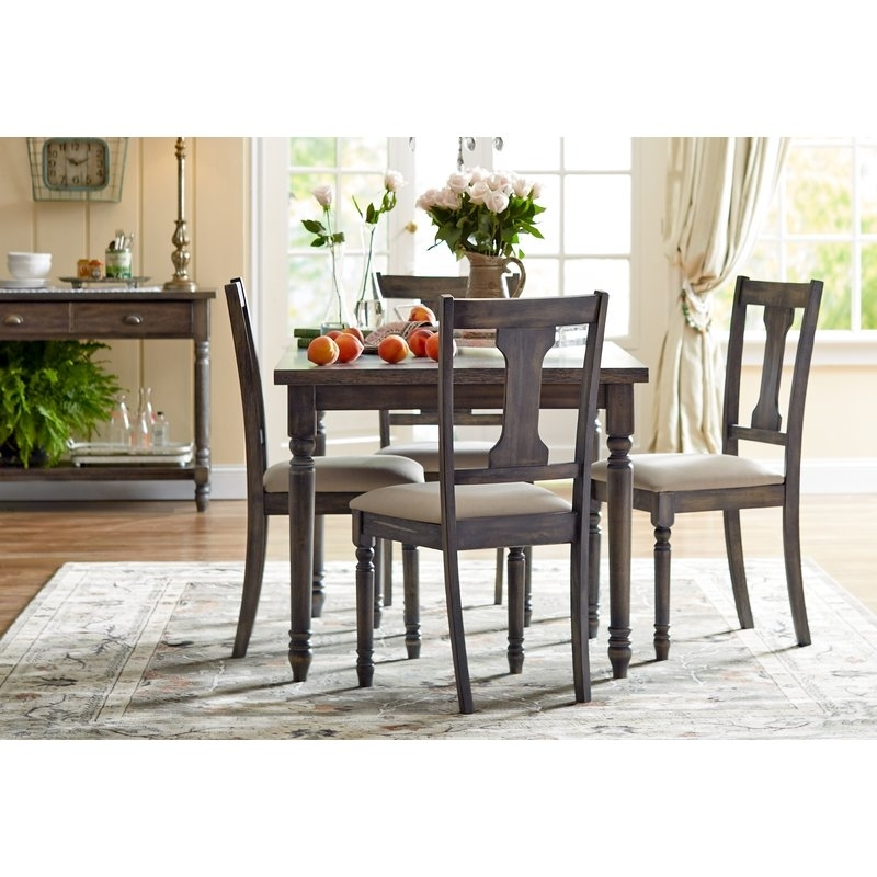 Lark Manor Lorient 5 Piece Dining Set & Reviews | Wayfair Pertaining To Jameson Grey 5 Piece Counter Sets (Image 19 of 25)