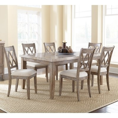Lark Manor Portneuf 7 Piece Dining Set In 2018 | Products Intended For Laurent 7 Piece Rectangle Dining Sets With Wood Chairs (View 6 of 25)