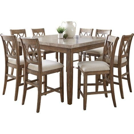 Lark Manor Portneuf 9 Piece Counter Height Dining Set | Fox Mountain Throughout Combs 5 Piece Dining Sets With  Mindy Slipcovered Chairs (Image 16 of 25)