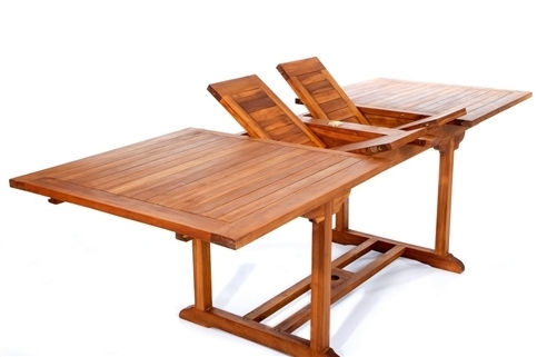 Latest Extension Patio Table Teak Extension Dining Table 94 Long Regarding Craftsman Rectangle Extension Dining Tables (Image 19 of 25)