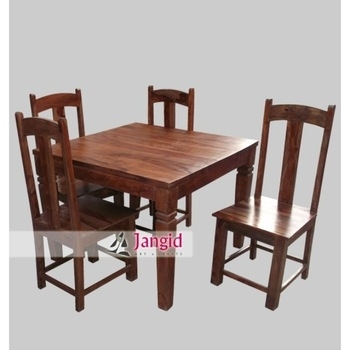 Latest Indoor Indian Sheesham Wooden Square 4 Seater Dining Table In Sheesham Dining Tables And 4 Chairs (View 16 of 25)