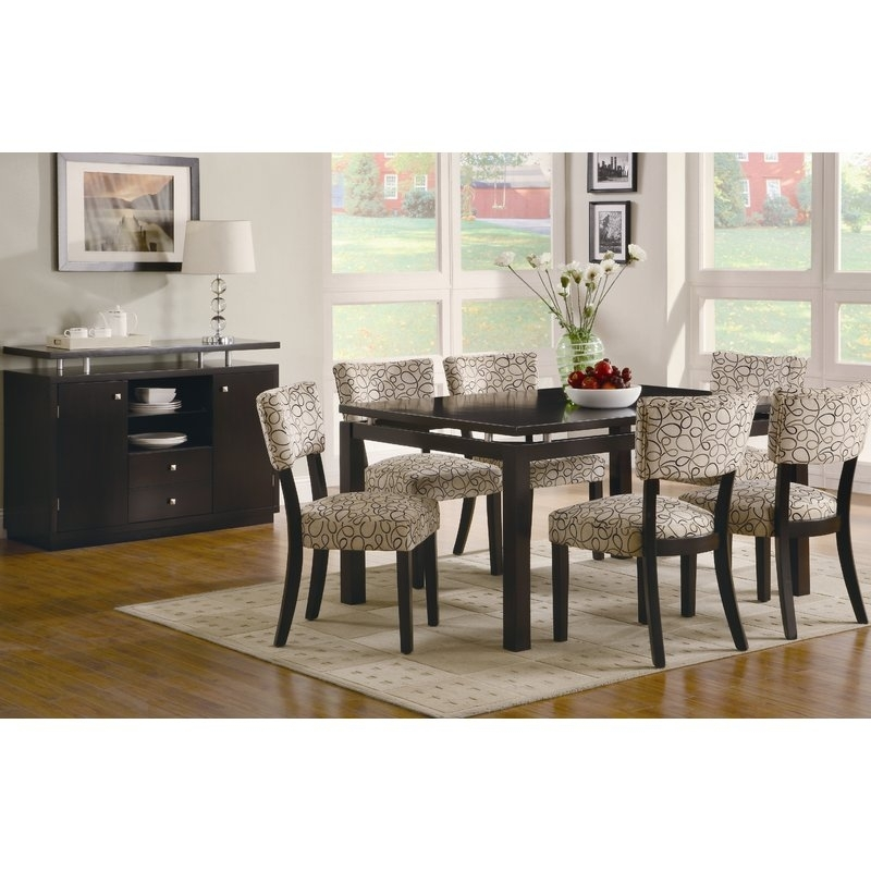 Latitude Run Bauch 7 Piece Dining Set & Reviews | Wayfair Pertaining To Chandler 7 Piece Extension Dining Sets With Fabric Side Chairs (Image 10 of 25)