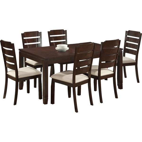 Latitude Run Calla 7 Piece Dining Set | Wayfair Within Chandler 7 Piece Extension Dining Sets With Fabric Side Chairs (Image 11 of 25)
