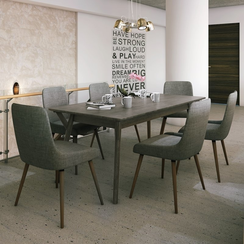 Latitude Run Chelmsford 7 Piece Dining Set | Wayfair Pertaining To Helms 6 Piece Rectangle Dining Sets With Side Chairs (Image 14 of 25)