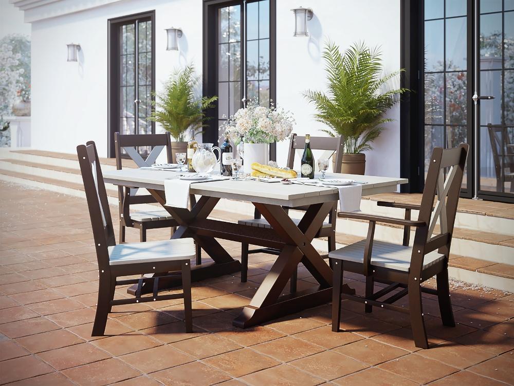 Lätt Bockbord Att Bygga, Rundstav Som Fixerar Planken, Lät Throughout Caira 7 Piece Rectangular Dining Sets With Diamond Back Side Chairs (View 21 of 25)