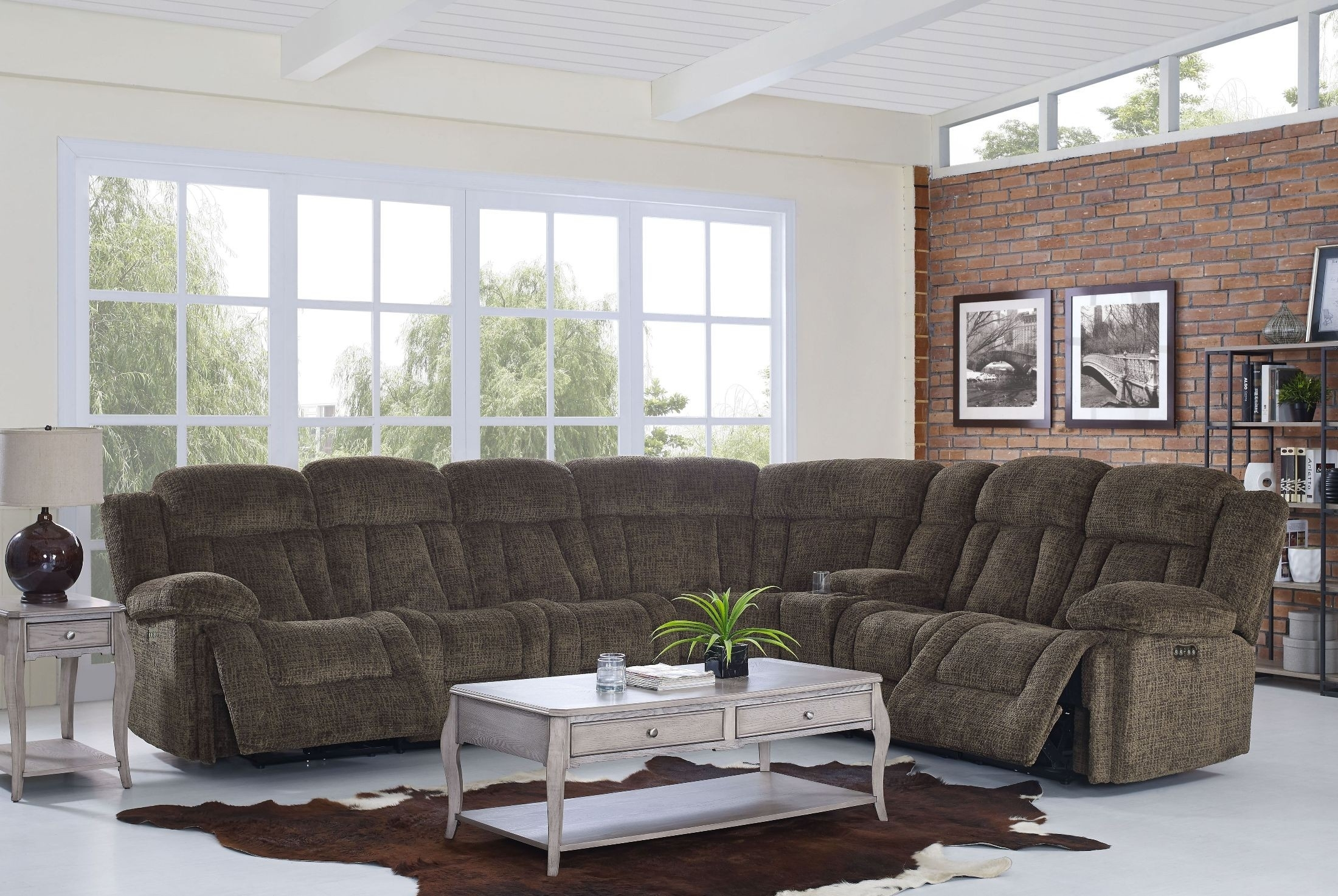 Laura Chocolate Reclining Sectional From New Classic | Coleman Furniture With Turdur 2 Piece Sectionals With Laf Loveseat (Image 10 of 25)