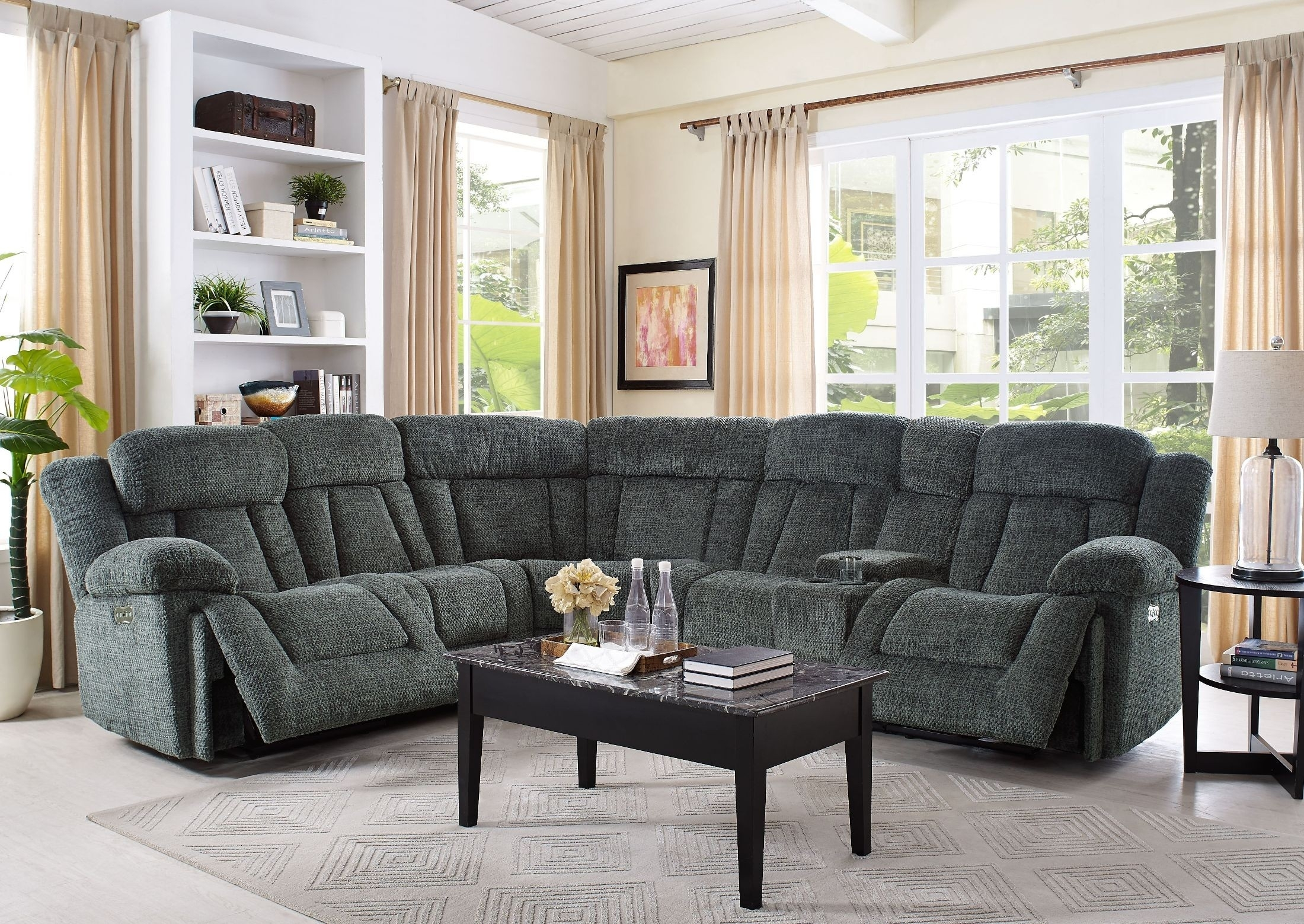 Laura Junction Pewter Power Sectional From New Classic | Coleman Throughout Turdur 3 Piece Sectionals With Raf Loveseat (Image 14 of 25)