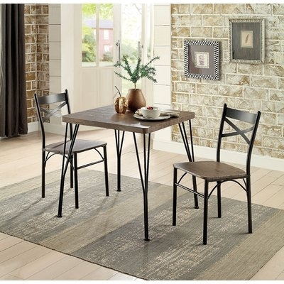 Laurel Foundry Modern Farmhouse Guertin 3 Piece Dining Set Chair With Regard To Combs 5 Piece Dining Sets With  Mindy Slipcovered Chairs (Image 17 of 25)