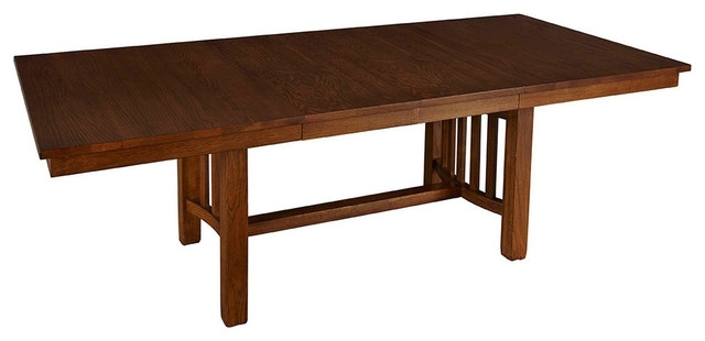 """Laurelhurst 92"""" Rectangular Trestle Table – Craftsman – Dining Within Craftsman Rectangle Extension Dining Tables (Image 20 of 25)"""