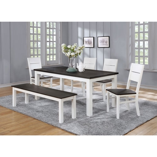 Lauren Traditional 6 Seating Rectangular Casual Dining Table – White Throughout Laurent 7 Piece Rectangle Dining Sets With Wood And Host Chairs (Image 14 of 25)