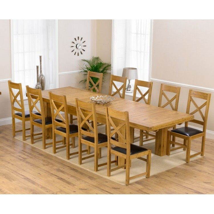 Laurent Oak 230Cm Xl Dining Table & Canterbury Chairs Set Throughout Laurent Rectangle Dining Tables (Image 14 of 25)