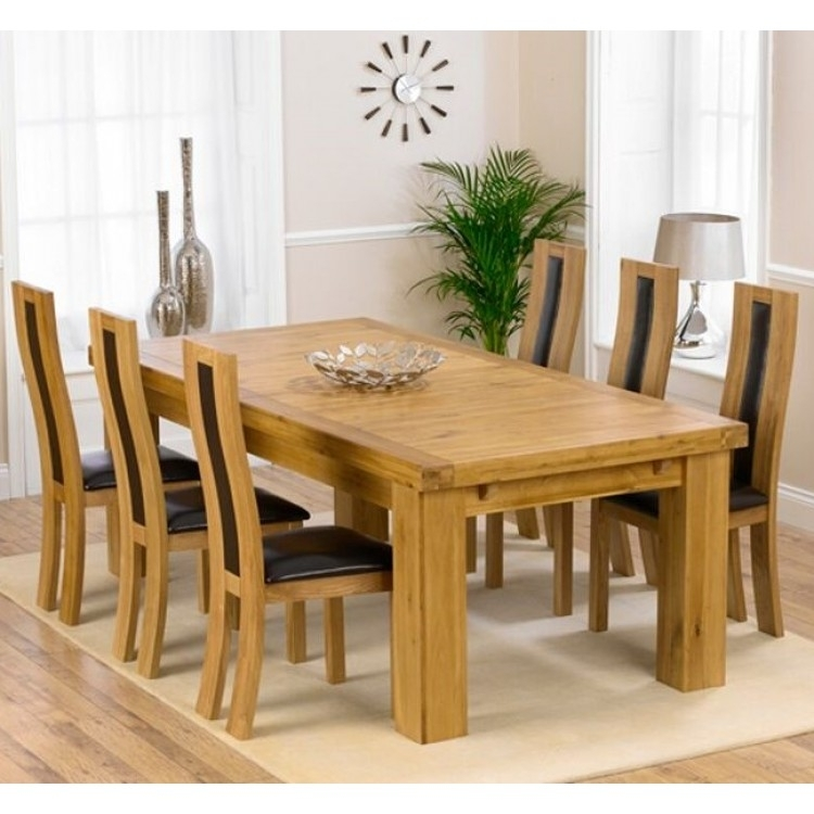 Laurent Oak 230Cm Xl Dining Table & Havana Chairs Set Intended For Laurent Rectangle Dining Tables (Image 15 of 25)