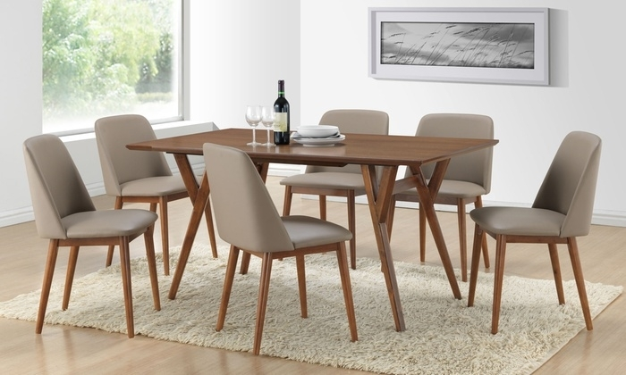 Lavin Dining Table With 6 Chairs   Groupon Goods Throughout Walnut Dining Table And 6 Chairs (Image 15 of 25)