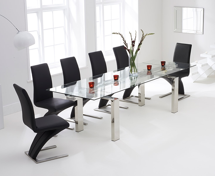 Lazio 200Cm Extending Glass Dining Table With Hampstead Z Chairs Throughout Extending Black Dining Tables (Image 16 of 25)