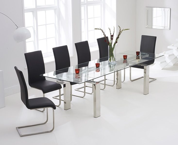 Lazio 200Cm Glass Extending Dining Table With Malaga Chairs Intended For Lazio Dining Tables (Image 10 of 25)