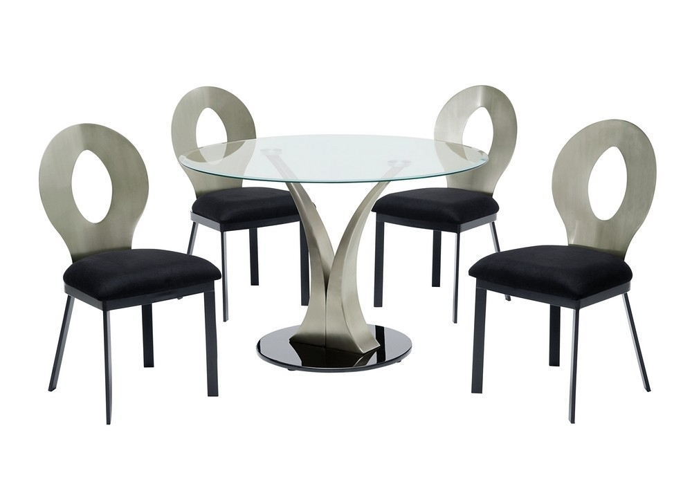 Lazio  Contemporary Round Glass Table Top 5 Pc Dinning Set With Lazio Dining Tables (Image 23 of 25)