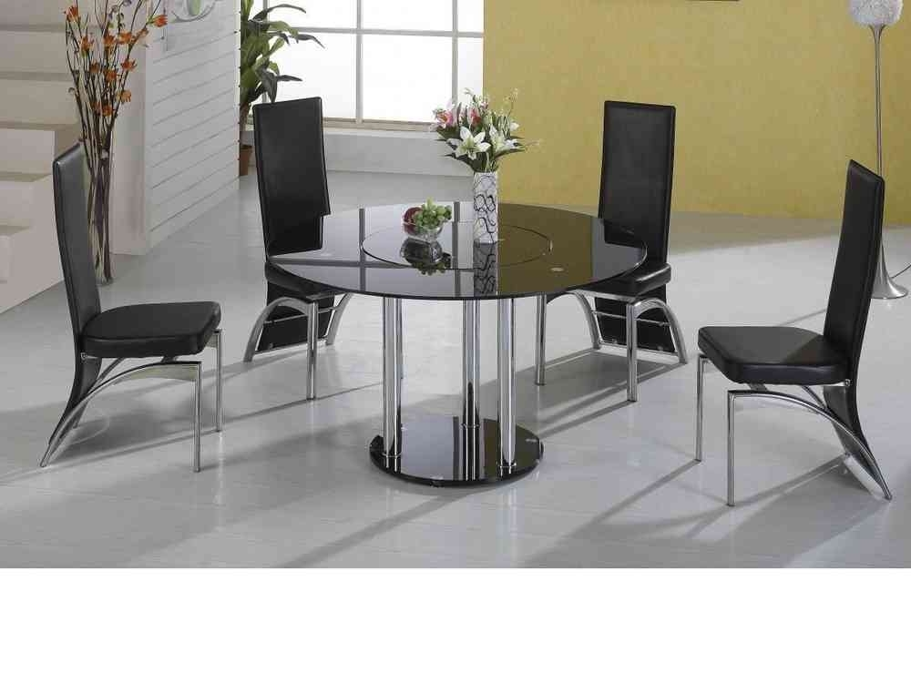 Lazy Susan Round Black Glass Dining Table And 4 Black Faux Chairs Throughout Black Glass Dining Tables (Image 18 of 25)