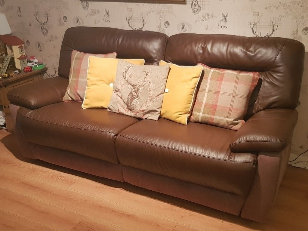 Leather 3 Seater And Single Seater Recliners   In East Calder, West In Calder Grey 6 Piece Manual Reclining Sectionals (Image 17 of 25)