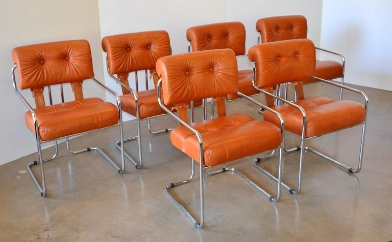 Leather And Chrome Tucroma Dining Chairs For Pace, Set Of Six At 1Stdibs Regarding Chrome Leather Dining Chairs (View 5 of 25)