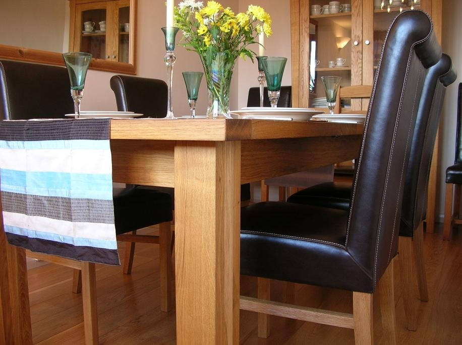 Leather Chair Dining Table Sets | Leather Roll Back Chairs In Oak Dining Tables And Leather Chairs (Image 6 of 25)