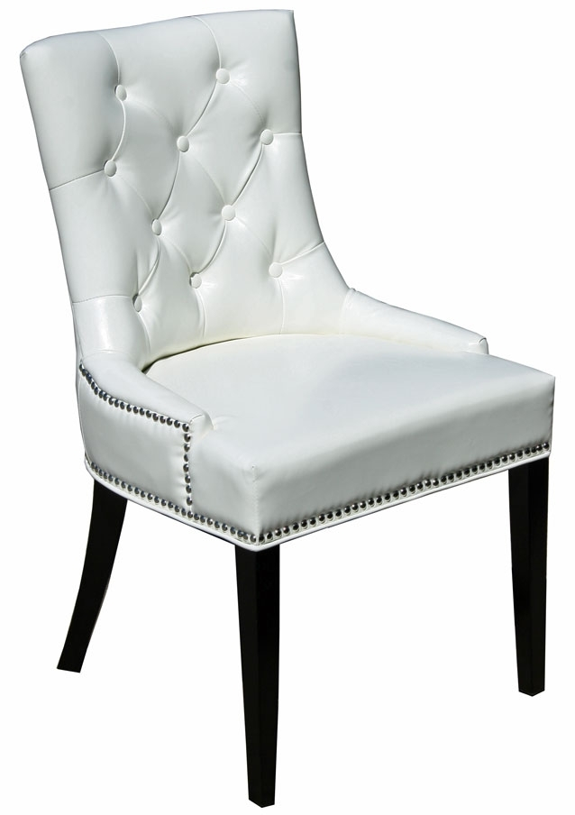 Leather Parson, Dining Room & Kitchen Chairs :: White Accent Tufted With White Leather Dining Chairs (Image 9 of 25)