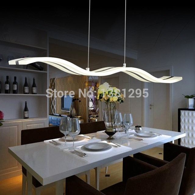 Led Pendant Lights Modern Design Kitchen Acrylic Suspension Hanging With Regard To Lighting For Dining Tables (Image 19 of 25)