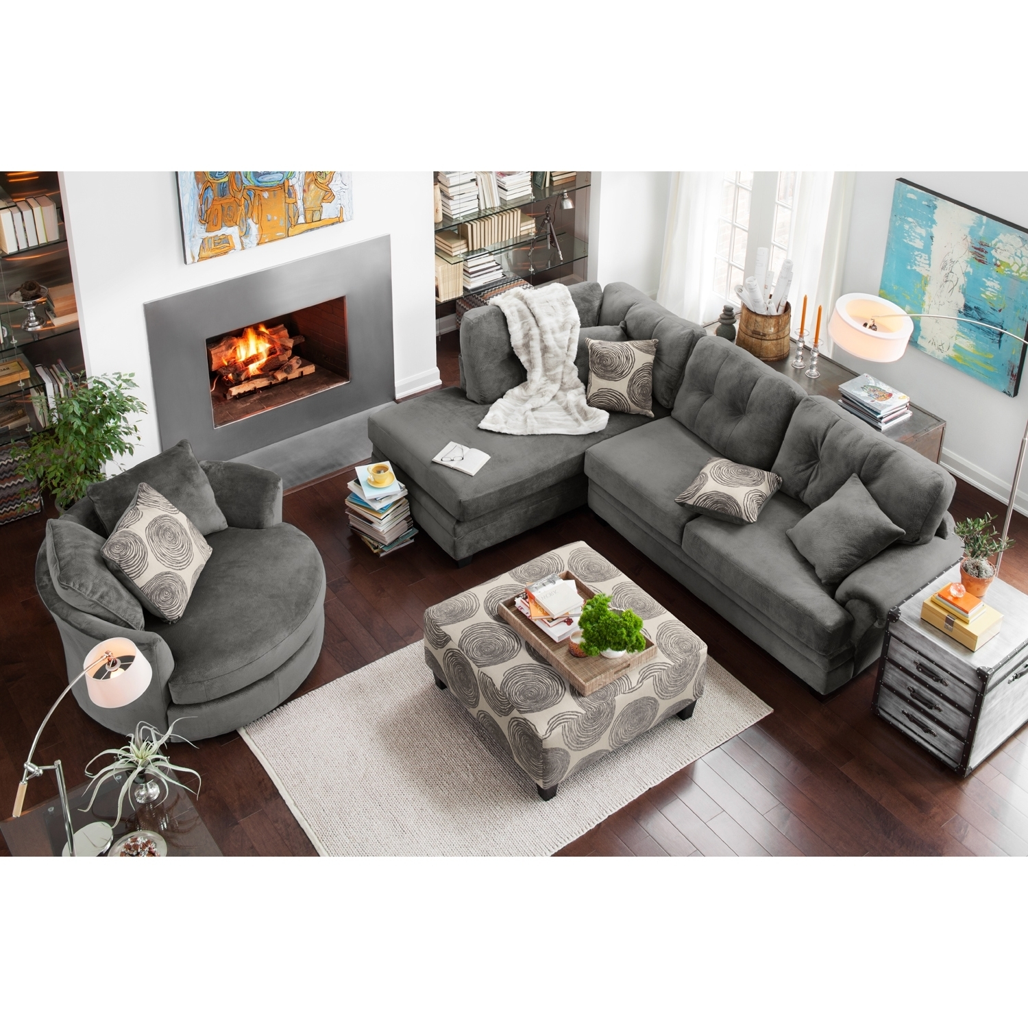 Left Facing Sectional Sofa Leather Arm Truscotti Stock Rooms Gray throughout Tenny Cognac 2 Piece Right Facing Chaise Sectionals With 2 Headrest